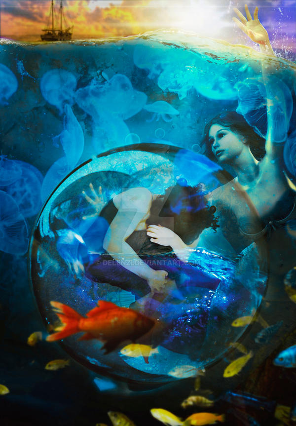 Woman in the Bubble and the Mermaid by delenzi