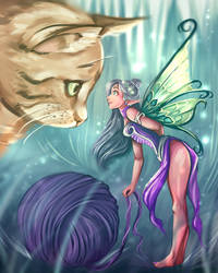 Fairy and Cat by art-by-Shiela