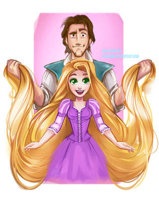 Rapunzel and Flynn Rider by LalaKachu