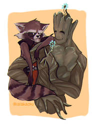 Disney Mini Series - Rocket and Groot by LalaKachu