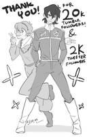 Keith and Pidge in 80's Golion Outfit