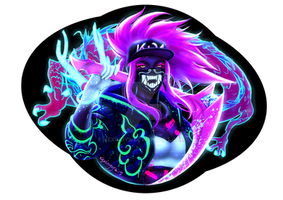 K/DA Neon Akali Sticker Design by VexingYA