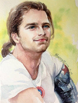 Bucky with a ponytail