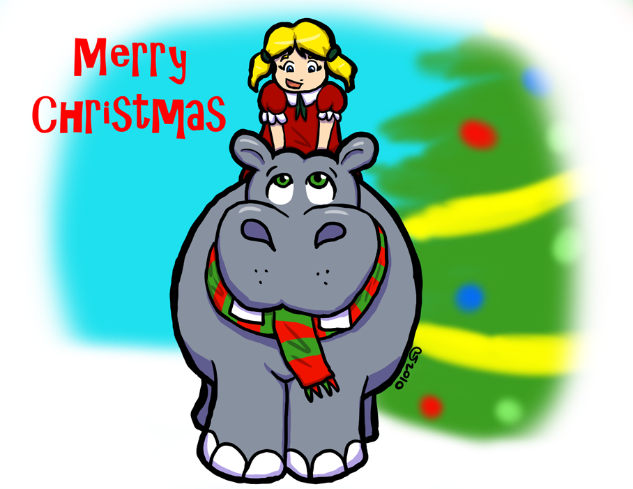 Hippopotamus For Christmas by CaseyLJones on DeviantArt