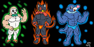 Pokemon: Sun and Moon Buff Anthro Starters