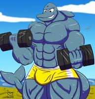 Commission: Muscle Beach Dolphin by CaseyLJones