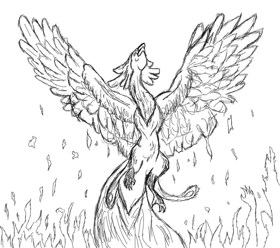 unfinished drawing of the phoenix bird by Milliemonster on