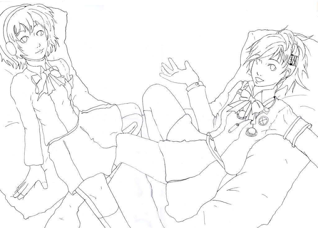 Persona - Aegis and Minako LINEART by Jope-san