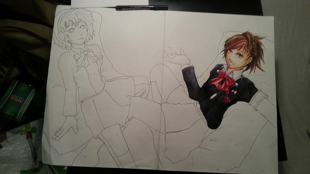 Persona 3 - Aegis and Minako WIP 2 by Jope-san