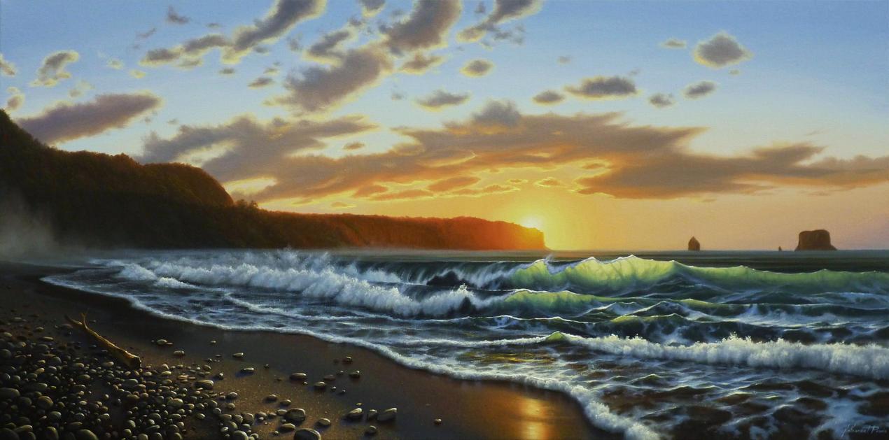 Sunset Over Elizabeth Point, Westland N.Z. by nprovis