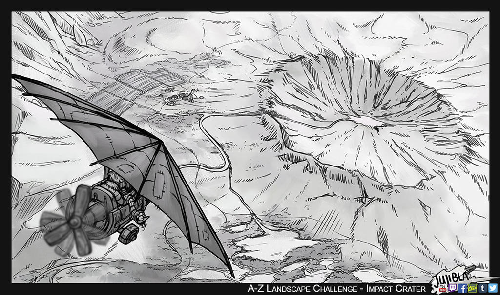 A to Z Landscape Art Challenge - Impact Crater by JujiBla