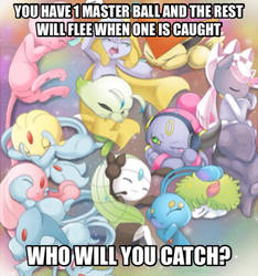 Legendary Pokemon meme- Who will you catch? by Scorpionspear77