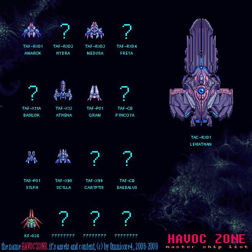 Havoc Zone - Ship Master List by Squirrelsquid