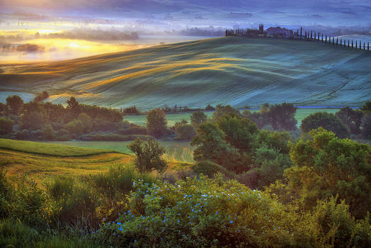 Dawn over the Val d'Orcia 2-5:08 AM