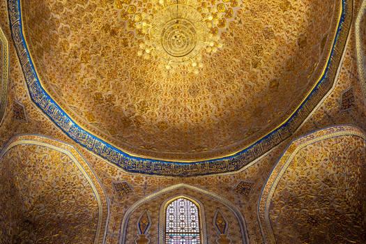 Golden interior of the tomb of the Gur Amir Temur