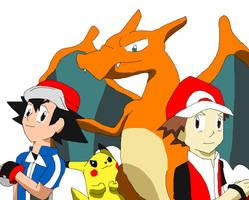 Ash, Red, and Their First Buddies by Karasu-96