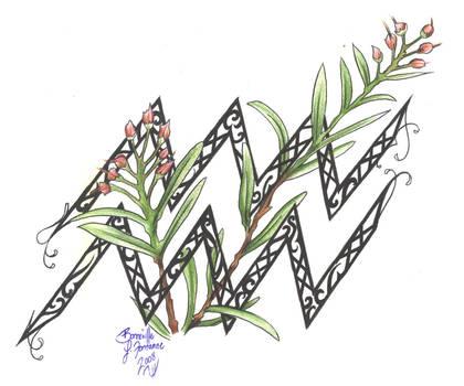 Zodiac Flower Design: Aquarius