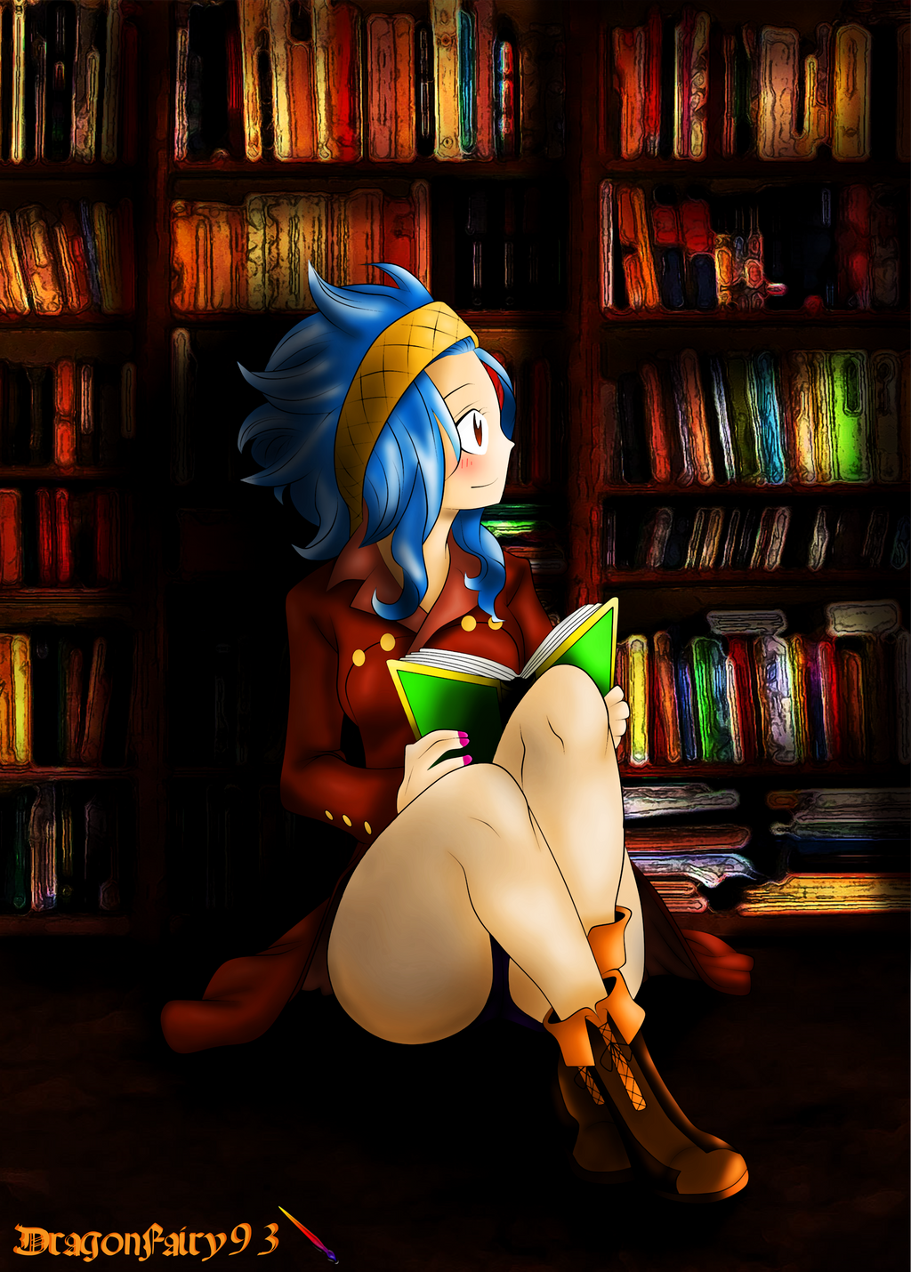 Levy Mcgarden Reading A Story By Dragonfairy93 On Deviantart