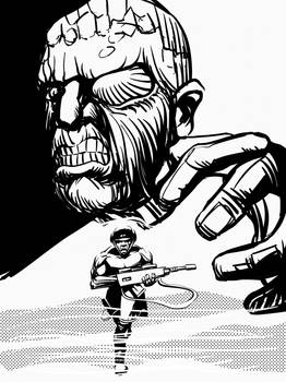 Rogue Trooper and the Traitor General (b and w)