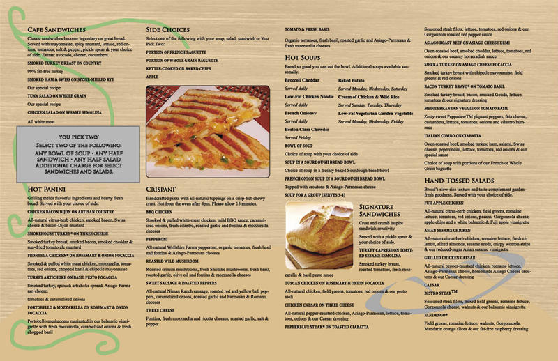 picture relating to Panera Bread Printable Menu With Prices named Ford Engine Organization England: Bread Business enterprise Menu Rates