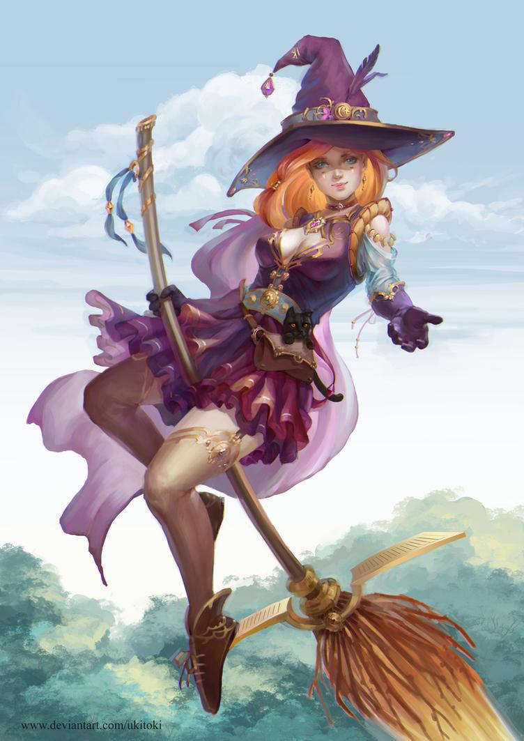 Witch on a broomstick by Ukitoki