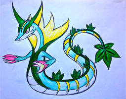 Project Fakemon: Mega Serperior (colored) by XXD17