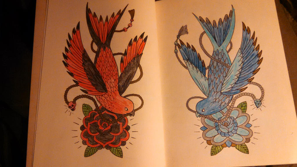 Birds:  fire and ice by Devilgirl007