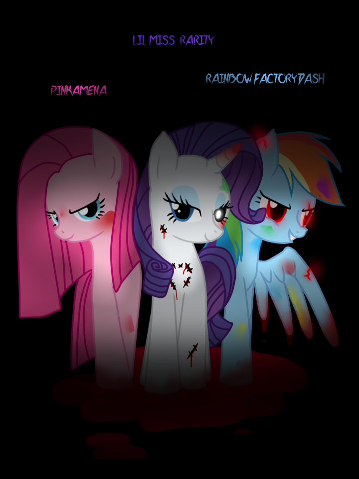 pinkamenalil miss rarity and rainbow dash factory by