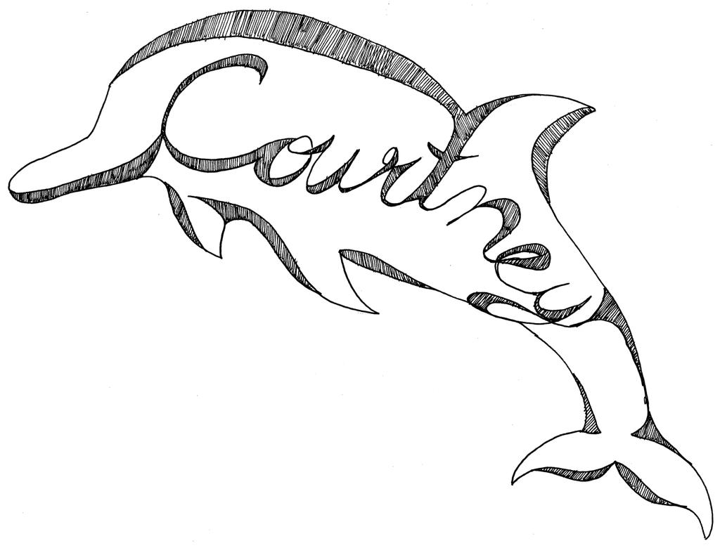 Line Drawing Name : Dolphin name drawing courtney by miaoukeo on deviantart