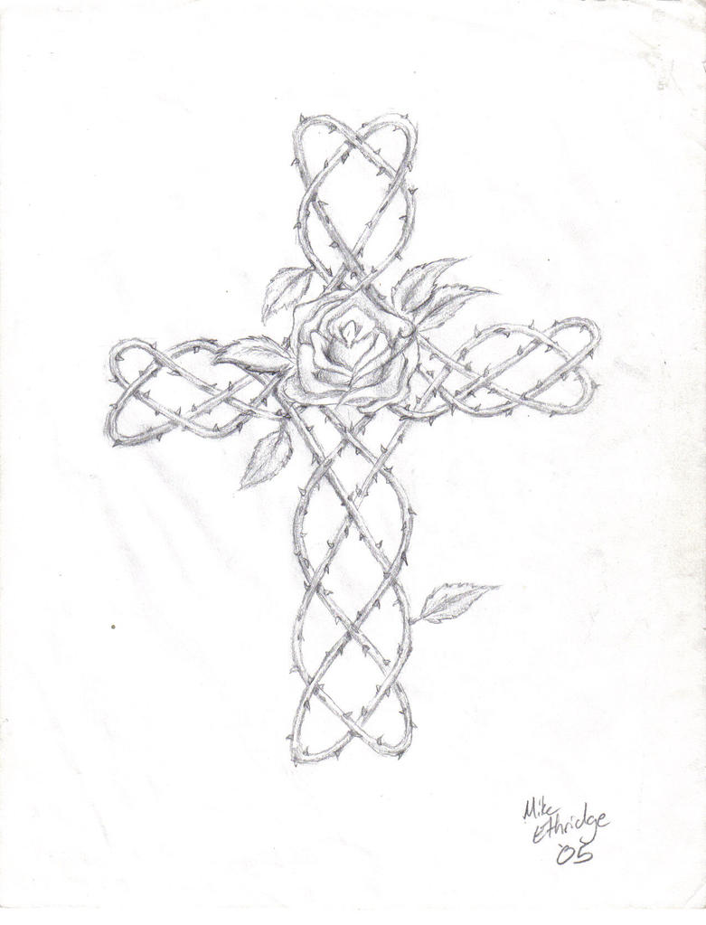 How to draw a cross with vines step by step