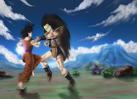 Raditz VS Goku by xenocracy