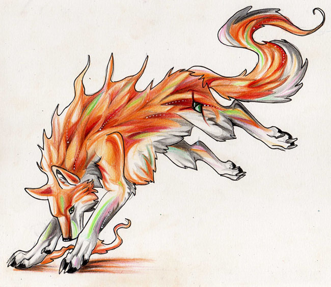 Orange Wolf Drawing Wolf Trade-- Colors of...