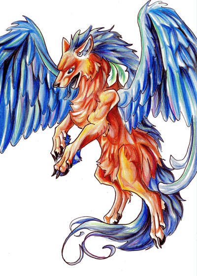 Colorful Flying Wolf by Lucky978 on DeviantArt