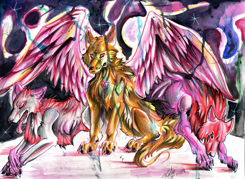 Pink Wolves by Lucky978 on DeviantArt