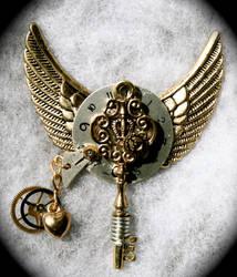 Steampunk Pendant w wings by Lucky978