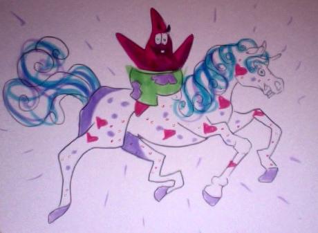 Patrick Riding Unicorn by Lucky978