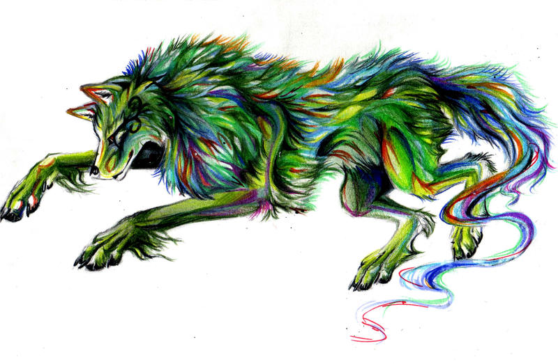 Green Rainbow Wolf by Lucky978