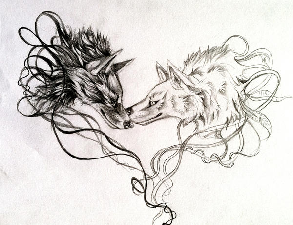 Lineart Wolf Tattoo : Two wolves together drawing