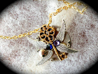 Purple Steampunk Necklace by Lucky978