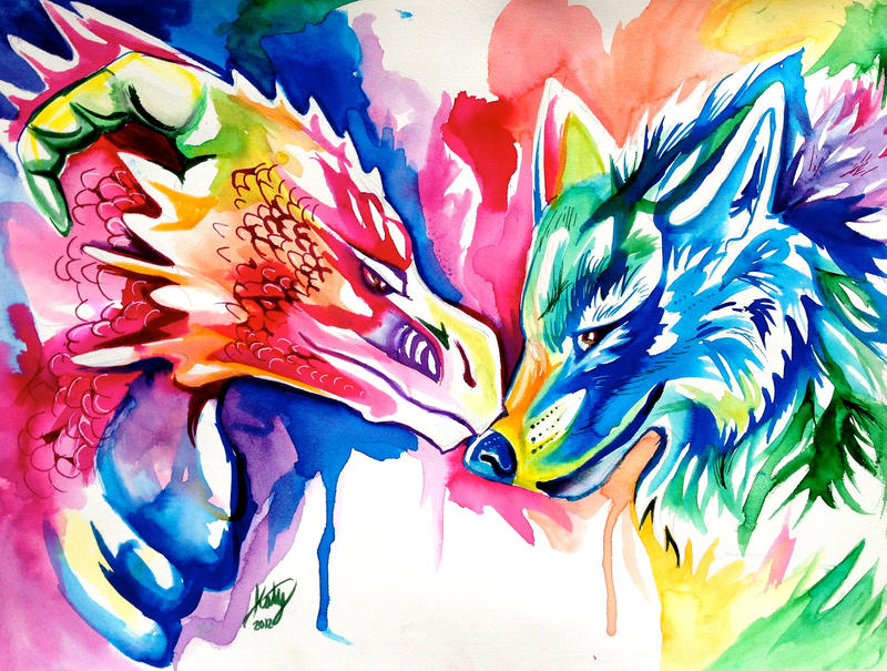Rainbow Wolf And Dragon By Lucky978 On DeviantArt