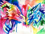 Rainbow Wolf and Dragon