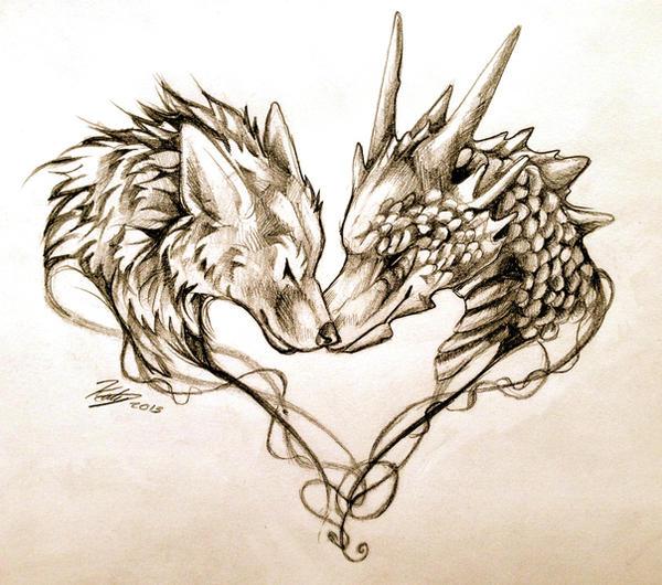 DragonAndWolfTattooDesignByLucky
