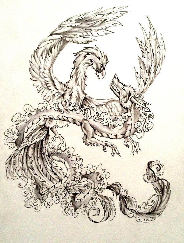 Dragon and phoenix tattoo design by lucky978 on deviantart for Dragon and wolf tattoo