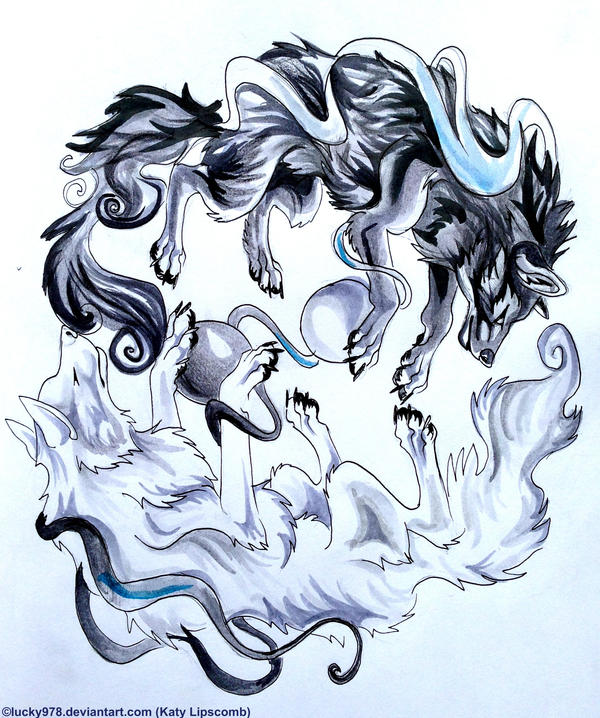 Yin and Yang Wolves by Lucky978