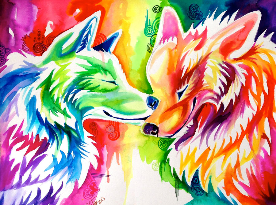 Two Rainbow Wolves (On Ebay) by Lucky978 on DeviantArt Colorful Wolf Painting