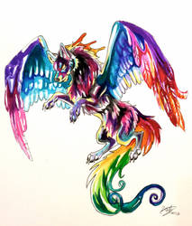Colorful Flying Wolf Tattoo by Lucky978