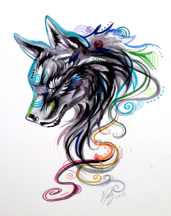 Swirly Wolf Head by Lucky978