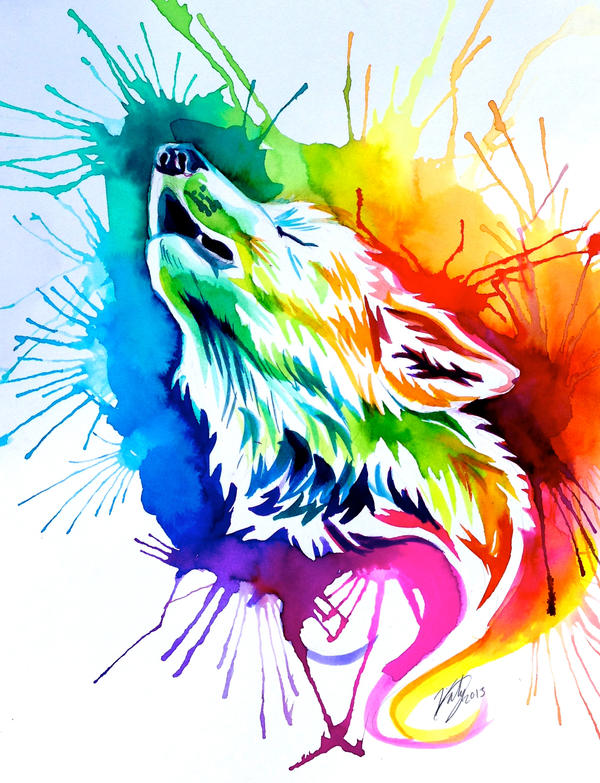 Rainbow Burst Wolf (on Ebay) by Lucky978 on DeviantArt Colorful Wolf Painting