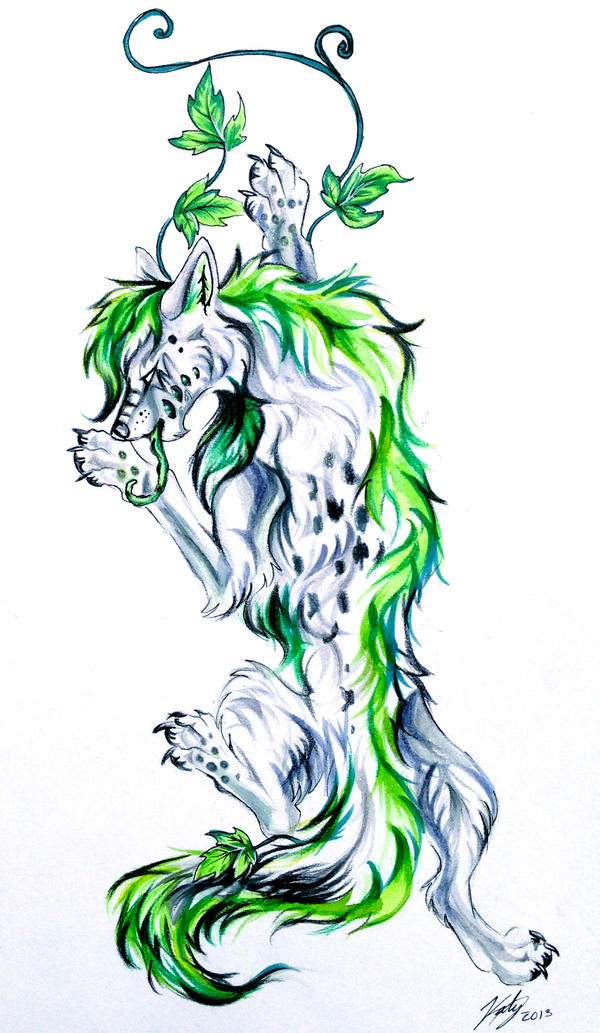 Ivy wolf tattoo by lucky978 on deviantart for Dragon and wolf tattoo
