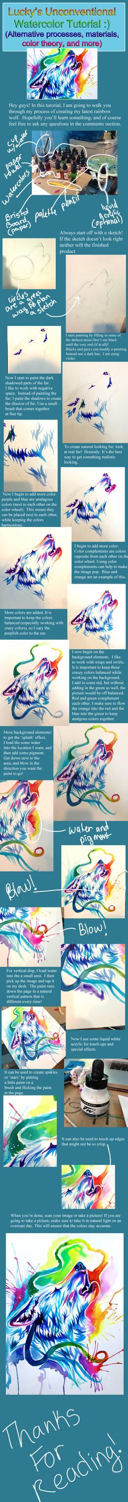 Rainbow Wolf Watercolor Tutorial